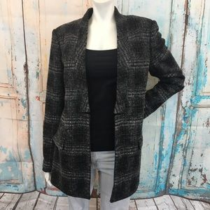BANANA REPUBLIC Plaid Wool Open Blazer Jacket